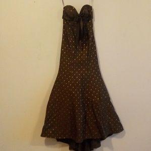 JOVANI| Brown Polkadot Formal Gown